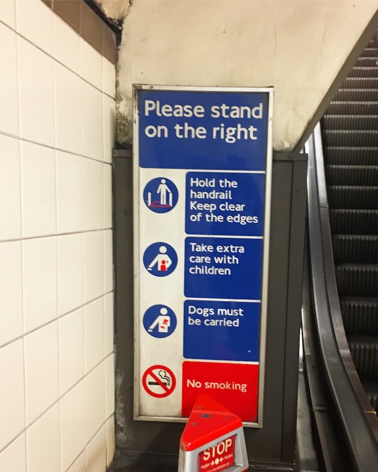 Please stand on the right